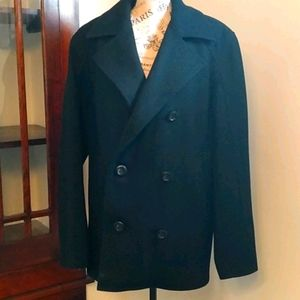 🖤☃️Guess Black Wool Double Breasted Pea Coat